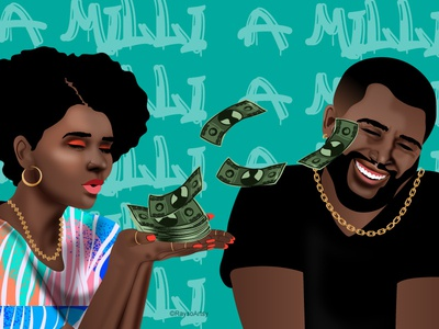 A Milli couple hiphop money cash bling jewelry afro character design african illustrator dark skin vector illustration design art