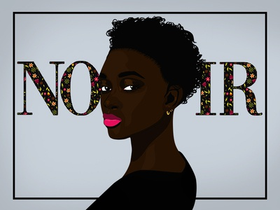 Noir noir editorial illustration editorial vogue sexy minimal black girl african illustrator dark skin vector illustration design art