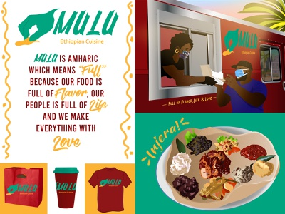 Mulu Ethiopian Food Truck dribbbleweeklywarmup food truck ethiopian rebound visual identity logo african illustrator vector illustration design art