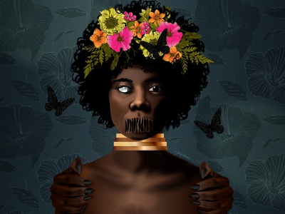 That Bad Feeling black artist black art floral zombie spooky season black girl dribbbleweeklywarmup spooky character design african dark skin illustrator vector illustration design art