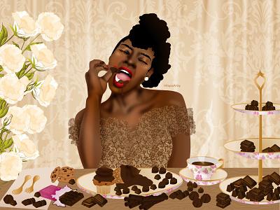 Lets Get Chocolate Wasted! candy victorian dribbble dribbbleweeklywarmup chocolate character design black art black girl black artist dark skin illustrator vector illustration design art