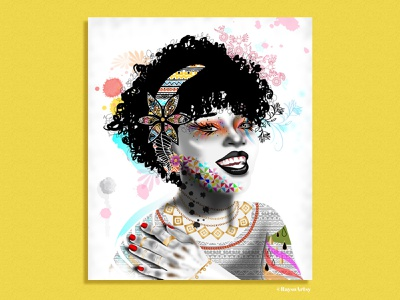 Splash curly hair dribbble digital art floral colors afro black art black girl black artist character design african illustration vector design art