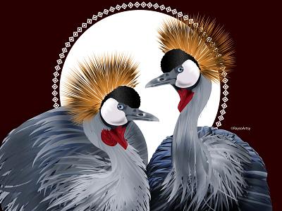 Crowned African Cranes dribbble majestic wildlife animal crane birds black artist african illustrator illustration vector design art