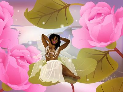 Once Upon a Rose fantasy art dribbble sexy dreamy fantasy fairy fairy tale black art black artist character design african dark skin illustrator illustration vector design art
