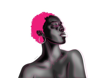 Creation of Her dribbble black and white pink sexy black girl black artist character design african dark skin illustrator illustration vector design art