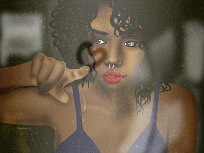 Let it Rain heart love rain dribbble black girl sexy black art black artist character design african dark skin illustrator illustration vector design art