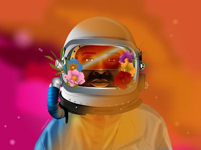 Rojo 3000 PT.1: The Outsider science floral dreams galaxy astronaut space dribbble black artist black girl character design graphic design african dark skin illustrator illustration vector design art