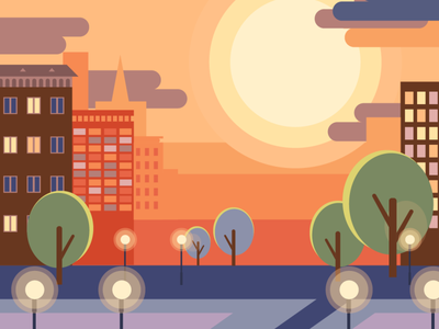 Sunset sunset art illustrator flat illustration flat vector illustration