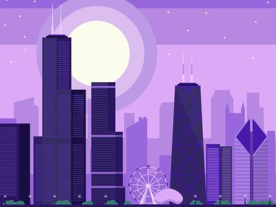 Chicago Skyline travel vector flat illustrator illustration building bean cityscape city skyline chicago