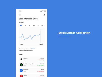 Stock Market Application application ui application stock market trading mobile ui design ui market stock stocks