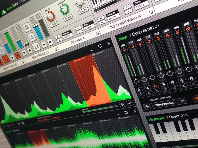 Audio Editor Interface ui ux interface green orange mixer keyboard waves audio editor