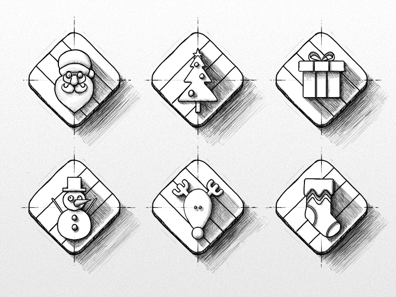Holiday Icon Sketches holiday christmas santa tree icons diamond sketch drawing reindeer snowman gift stocking