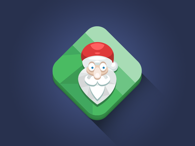 Santa Icon holiday santa hat long shadow flat icon diamond vector simple minimal clean