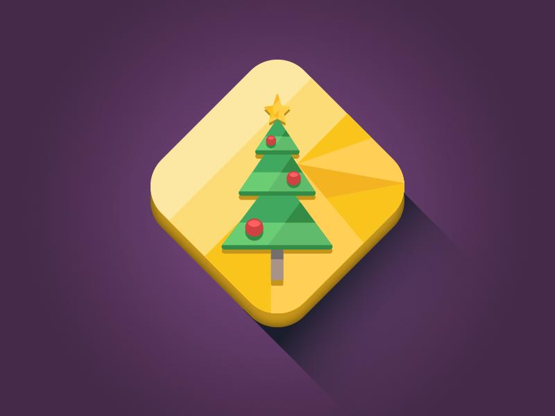 Christmas Tree Icon flat vector longshadow diamond minimal icon christmas tree xmas