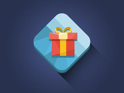Holiday Gift Icon flat vector longshadow diamond minimal icon christmas gift xmas design clean