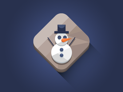 Snowman Icon flat vector diamond icon minimal winter snowman longshadow