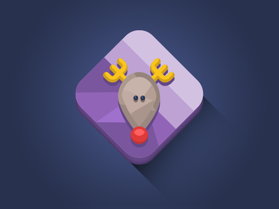 Rudolph Icon flat vector longshadow diamond minimal icon xmas design clean rudolph reindeer