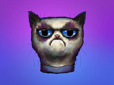 Grumpy Cat Illustration  digital painting illustration grumpy cat drawing