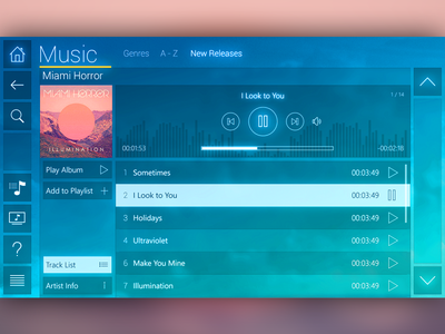 Music Player Interface media player interface ui music app play equalizer layout ux blue
