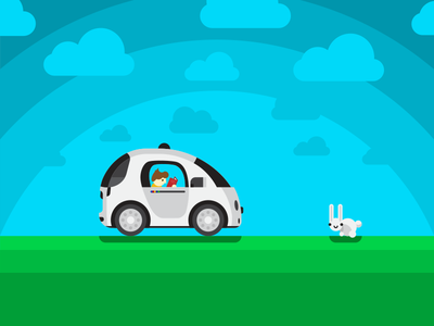 Autonomous Sneak Peak autonomous car rabbit flat vector illustration