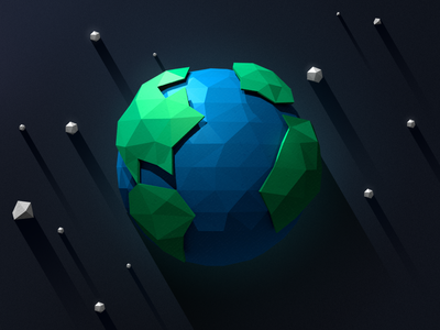 Low-poly Earth low poly flat long shadow earth planet space