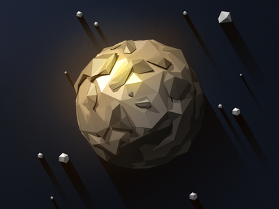 Low-poly Mercury  flat long shadow space planet low poly