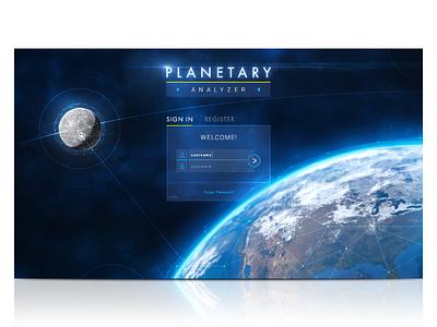 Planetary Analyzer Login UI