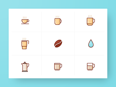 Coffee Icon Collection drip icons carafe bean cup coffee