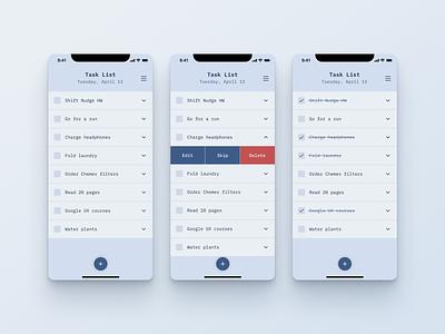 Tasklist App list to-do list to do app mobile shift nudge ui tasklist task