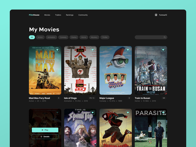 Movie Collection ui user interface collection web design favorites streaming mad max shift nudge film website app product design desktop movies