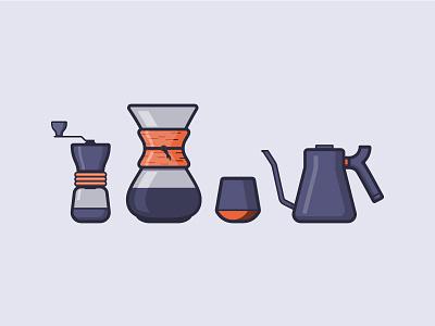 Coffee Icons line icons fellow grinder chemex kettle mug coffee mug illustration coffee