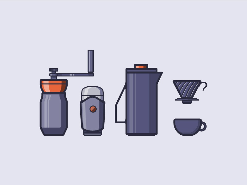Coffee Icons icons icon illustration cup hario kettle coffee grinder coffee