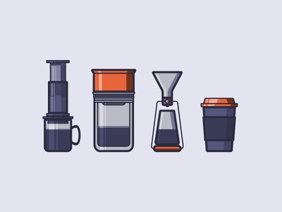 Coffee Icons pour over icons icon aeropress fellow illustration coffee cup coffee