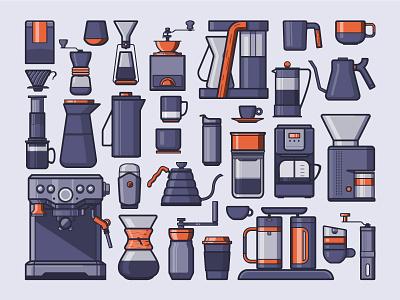 Coffee Icons fellow hario icons mug grinder chemex coffee mug icon illustration coffee