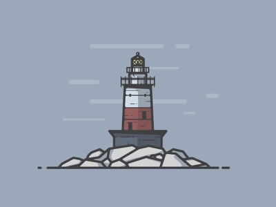 Greens Ledge Lighthouse clouds beacon rocks foggy icon connecticut lighthouse illustration