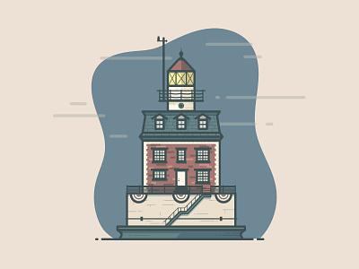 New London Ledge Lighthouse new london monoline icon foggy clouds beacon lighthouse illustration