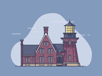 Block Island Lighthouse rhode island monoline block island bricks clouds beacon lighthouse illustration
