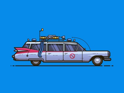 Ecto-1 line illustration illustration pop culture car vehicle ghostbusters ecto-1 ecto 1