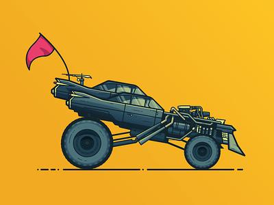 Mad Max Gigahorse illustration tires vehcile flag post apocalypse gigahorse mad max