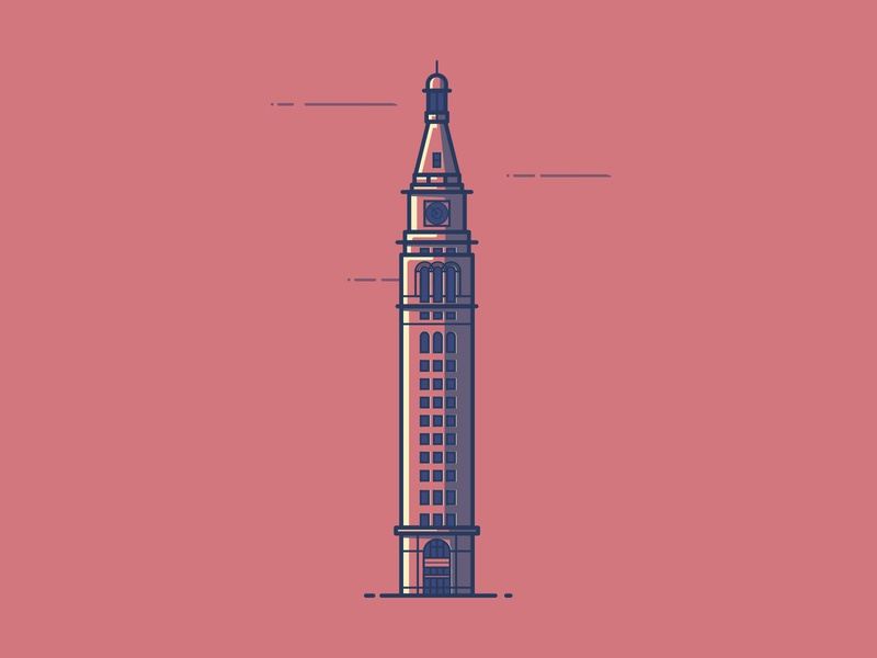 Daniels And Fisher Tower clock tower line illustration illustration colorado denver daniels and fisher tower
