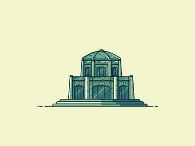 Vista House line illustration vector illustration building architecture house oregon vista house