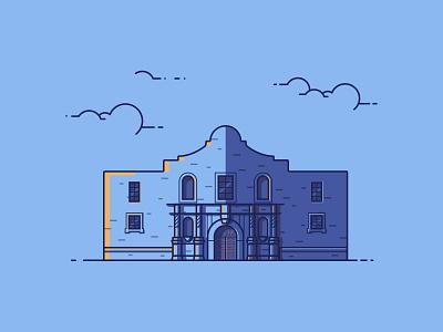 The Alamo fort san antonio the alamo illustration building architecture texas alamo