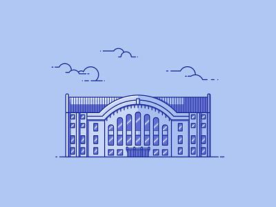 Romney Gym line illustration illustration architecture building gym gymnasium montana state montana romney gym