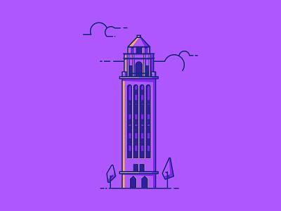 Unity Village line illustration illustration missouri architecture building tower unity village
