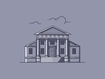 Redwood Library line illustration illustration architecture building rhode island redwood library redwood library