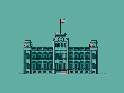 Iolani Palace line illustration illustration building architecture hawaii palace iolani palace