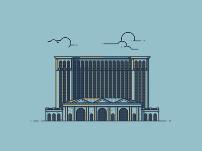 Michigan Central Station line illustration illustration detroit train depot architecture building michigan station central michigan central station