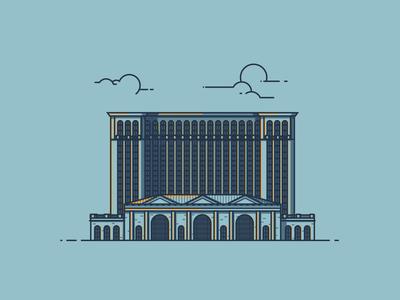 Michigan Central Station line illustration illustration detroit train depot architecture building michigan station central michigan central station