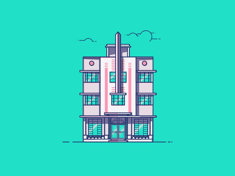 McAlpin Hotel line illustration illustration art deco architecture building mcalpin hotel hotel mcalpin