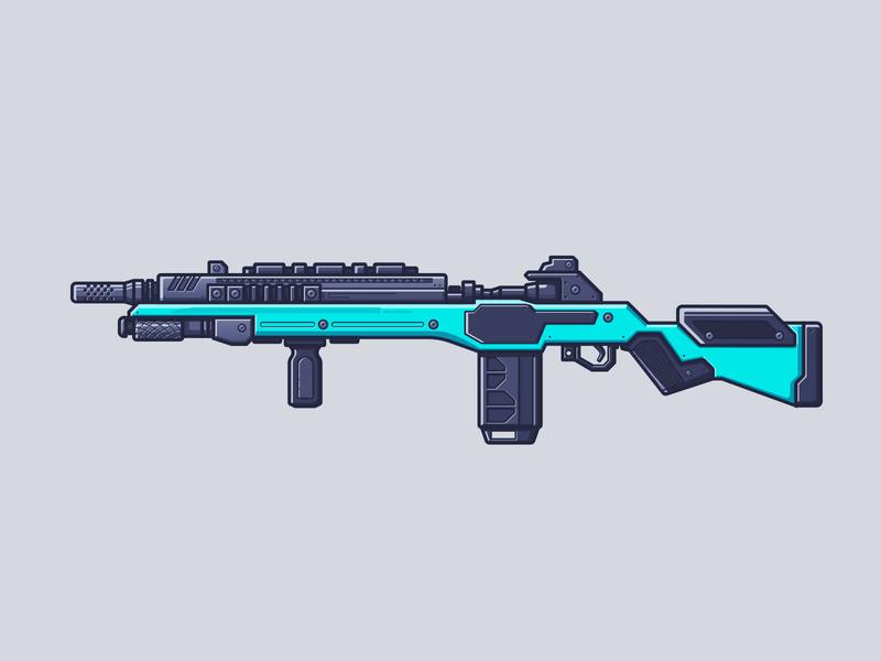 Apex Legends - G7 Scout line illustration illustration battle royale apex legends video games gun weapon rifle g7 scout